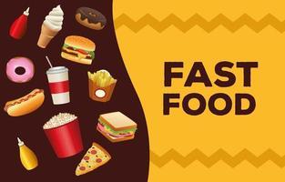 paquete de delicioso menú de comida rápida y letras vector