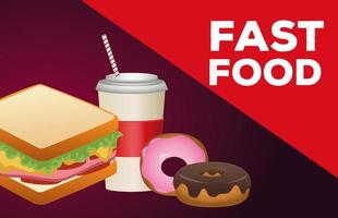 delicious sandwich with soda and donuts fast food icons vector