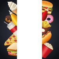 bundle of delicious fast food menu frame vector