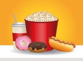 delicious pop corn and fast food icons vector