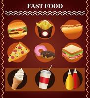 bundle of nine delicious fast food menu and lettering vector