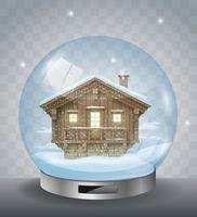 Crystal Christmas ball with a small house vector