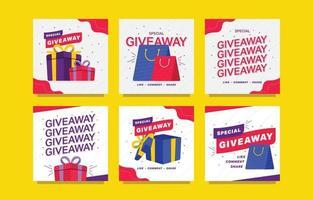 Giveaway Design Template for Social Media Post vector