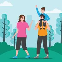 Happy Family at the Park vector