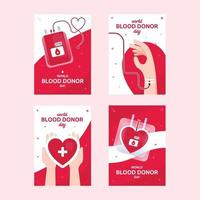 World Blood Donor Day Card Set vector
