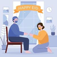 Father and Daughter Apologizing in Ramadan vector