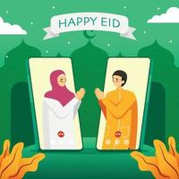 Video Call to Celebrate Eid vector