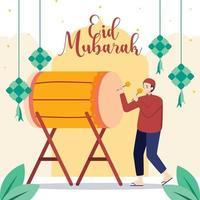 hombres musulmanes celebrando eid mubarak vector