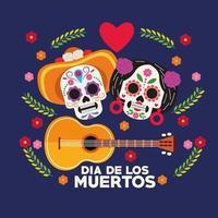 cartel de celebración del dia de los muertos con pareja de calaveras y guitarra vector