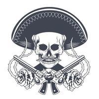 cartel del dia de los muertos con calavera de mariachi y pistolas cruzadas dibujadas vector