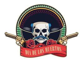 cartel del dia de los muertos con calavera de mariachi y pistolas cruzadas en un marco de cinta vector