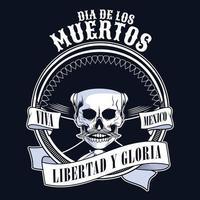 dia de los muertos poster with mariachi skull in ribbon frame vector