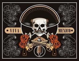 cartel de dia de los muertos con calavera de mariachi y pistolas cruzadas en cartel marrón vector