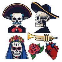 celebración del dia de los muertos con iconos de paquete vector