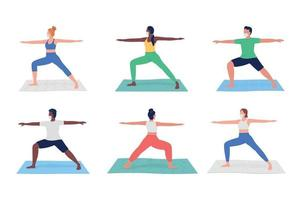 Yoga class during pandemic flat color vector faceless character set