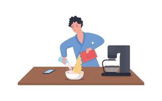 Hombre vertiendo leche en cereal color plano vector carácter detallado