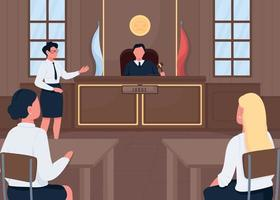 Abogado en la corte legal ilustración de vector de color plano