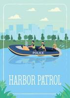 Harbor patrol poster flat vector template