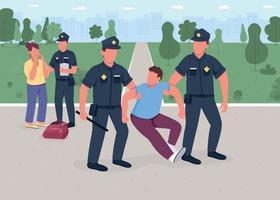 Robber arrest flat color vector illustration