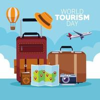 world tourism day lettering celebration with suitcases and monuments vector