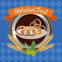 happy oktoberfest celebration with pretzels in wooden frame vector