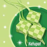 Serve Ketupat for Eid Feast vector