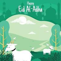 Eid Al Adha Goat field vector