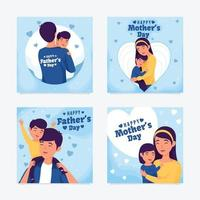 feliz mamá y papá vector