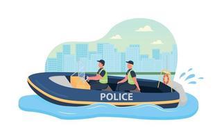 Police boat patrol 2D vector web banner