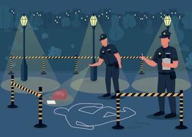 Ilustración de vector de color plano de investigación de delitos