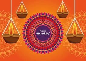 happy navratri celebration card with candles hanging and mandala vector