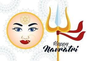 happy navratri celebration card with beautiful goddess face and trident vector
