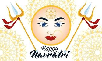 happy navratri celebration card with beautiful goddess face and tridents vector