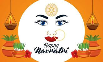 happy navratri celebration card with beautiful goddess face and houseplants vector