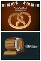 happy oktoberfest celebration with barrel and pretzel vector