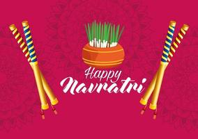 happy navratri celebration card with sticks and house plant vector