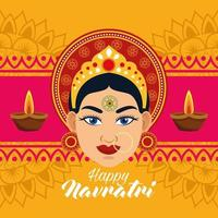happy navratri celebration card with beautiful goddess and candles frame vector