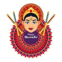 happy navratri celebration card with beautiful goddess and mandala vector