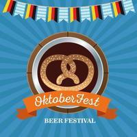 happy oktoberfest celebration with pretzel in wooden frame vector