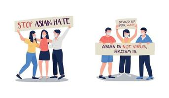 Demonstration against anti asian violence flat color vector faceless characters