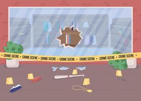 Shop burglary crime scene flat color vector illustration