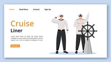 Cruise liner landing page vector template