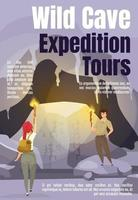Wild cave expedition tours magazine cover template vector