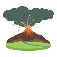 Volcano eruption in rural area cartoon vector illustration