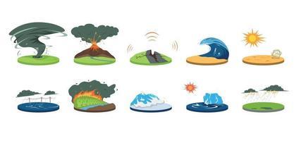Natural disasters cartoon vector illustration set