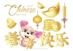 Happy Chinese New Year 2020 cartoon stickers pack vector