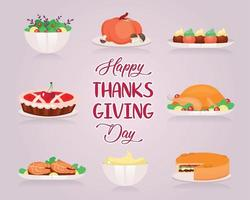 Happy Thanksgiving flat greeting card vector template