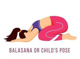 Balasana flat vector illustration