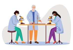 Science students and professor in lab coats flat vector illustration