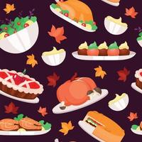 Thanksgiving day flat vector seamless pattern